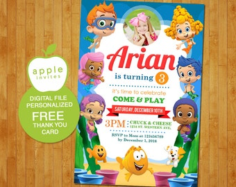 Bubble Guppies Invitation, Bubble Guppies Party, Bubble Guppies Birthday, Bubble Guppies, FREE Thank you Card!