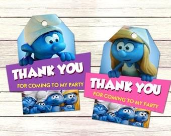 INSTANT DOWNLOAD, Smurfs Thank You Tags, Smurfs Birthday Favor Tags, Smurfs Tags, Smurfs Party, Smurfs Printables, Smurfs Birthday