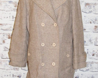 Size 16 vintage 60s double breasted hiplength winter coat taupe pure wool (C022)