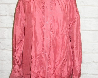 Size 16 vintage 80s oversize long sleeve shirt loop collar/trim pure silk (HG63)