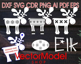 Christmas tree toy elk, deer for wooden and paper cut CNC Cut File Vector Art Laser Cut DXF CAD drawing Silhouette Cameo Template souvenir