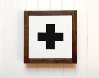 White Swiss Cross Mini Wood Sign