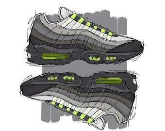 Nike Air Max 95 OG Neon sneaker art print