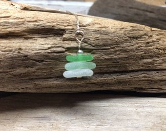 Handmade Stacked Lake Glass Necklace