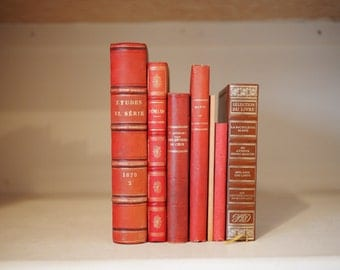 7 Red cloth and paperbound books for decorations, collections, lots, instant libraries