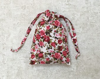 smallbags fabric pink printed pink English - 2 sizes - Cotton satin bags