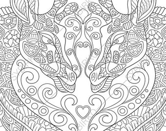 Adult Coloring Page Giraffes In Love Zentangle Doodle Book For Adults