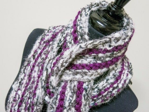 Knitting Essentials White Sparkle Wool : Purple white gray glitter yarn handmade knit scarf