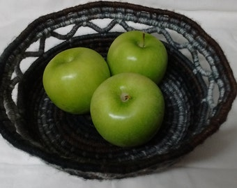 Coil bowl, yarn wrapped, hand stitched, yarn wrapped basket, hand wrapped coiled basket