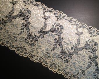 "1 Yard - 7""/18cm Stretch Lace Metallic Cream Feathers DIY lingerie intimate apparel"