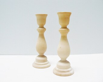 Natural Wood Candle Holders Home Decor Modern Vintage