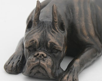 Boxer Laying Down - Small Cold Cast Bronze Dog Statue