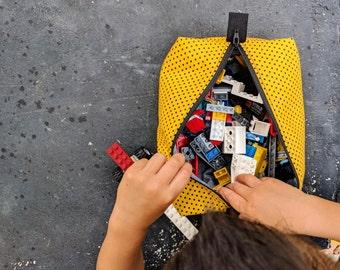 Lego Bag | Yellow Polka-Dot Boxy Zipper Pouch | Boy's Lego travel bag | Lego Pouch | diaper bag organizer