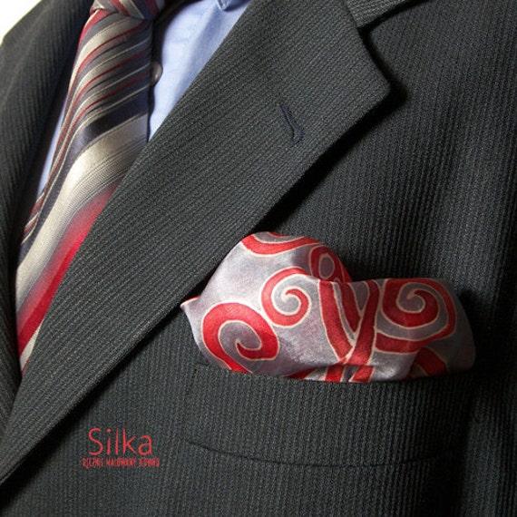 Hand painted silk pocket square, silk pocket square, hand painted silk,  wedding pocket square, grey - red pocket square, Groomsmen gifts,