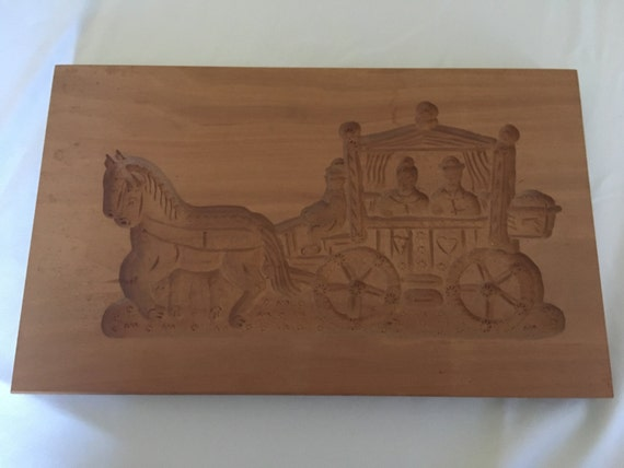 Springerle Vintage Hand-Carved Cookie/Paper Mold (East Germany) – Large Carriage