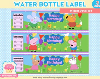 80% OFF SALE Water Bottle Label Peppa Pig - 3 Designs - Instant Download - PDF Files - High Resolution - Holiday Party