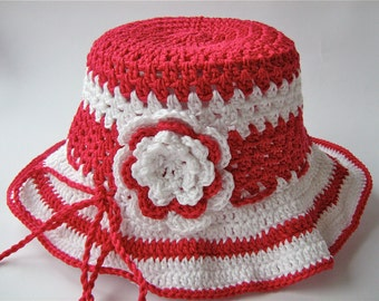 Girl's Crocheted Summer Hat/ Girl's Crocheted Sun Hat/ Sun Hat