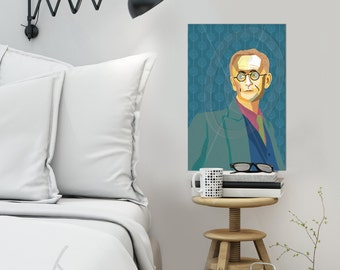 Hermann Hesse personalized framed pop art gift for book lovers wallart XL art prints iconart gift ideas fine art print for him Ready To Hang