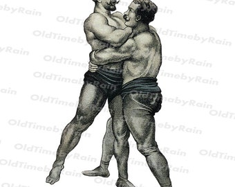Instant PNG Digital Download/Vintage Illustration/PNG File/Vintage mans/Wrestlers/Black and white illustration/Vintage drawing/