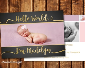 Baby Announcement Card Girl, Birth Announcement Printable Photo Card, Pink and Gold Personalized Newborn Card