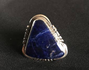 Sterling Silver Sodalite Ring Size 7 1/4