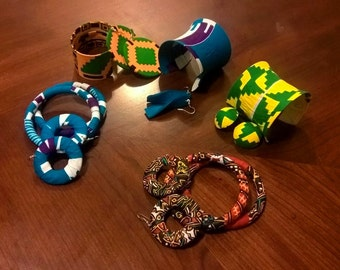 African Print Jewelry bracelets and  earrings set  kente/wax/Ankara