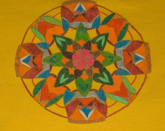 T Shirt women - Size L - drawn Mandala - handmade