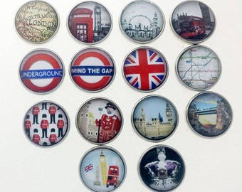 London Map,  London Eye, Mind the Gap, Underground, Union Jack, Beefeater, Tower Bridge, Crown, Ginger snap Jewelry, Snap charms, Snap