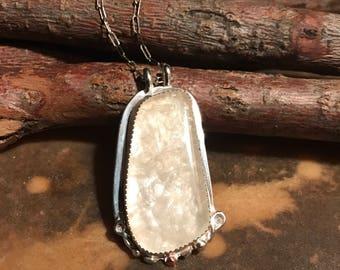 Satin flash opal pendant