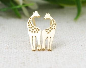 Giraffes Earrings   Animal Earrings   Dainty Earrings   Giraffe Jewelry   Valentines Jewelry   Heart Giraffe Earrings