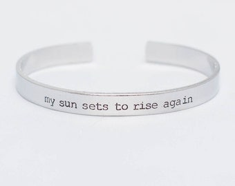 My Sun Sets To Rise Again / Poetry Jewelry / Poetry Bracelet / Poetry Gift / Inspirational Quote Jewelry / Literary Jewelry / Literary Gift
