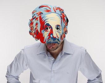 Einstein red&blue mask patternn. PRINTABLE Albert Einstein mask. Paper mask.  Science party accessories. Masquerade ball mask. Party mask.