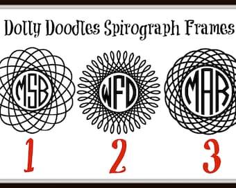 Spirograph Monogram Decal - Vinyl Spirograph Decal