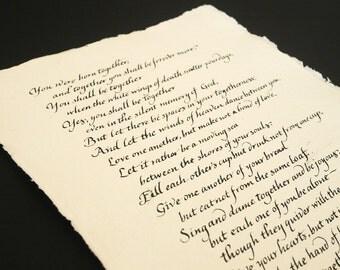 Custom wedding vow calligraphy in italic