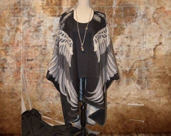 Kimono Style Jacket Cape Cover Up - Wing Feather Cashmere Feel