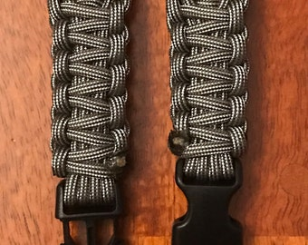 Silver and Black Paracord Apple Watch Band