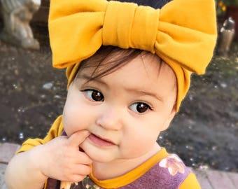 headband - big bow headband - mustard headband - stretchy headband - bow headband - baby headband - toddler headband