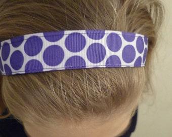Non-slip Adjustable Headband White with purple dots