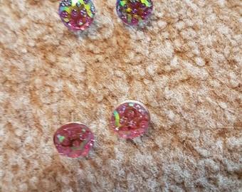 Purple Glitter stud earrings