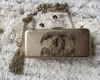 Vintage CHANEL Gold Bar CC Logo Chain Fringe Minaudiere Collector's Bag Clutch w Tassels - RARE!!!