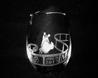 15oz Stemless Wine Glass Engraved Etched