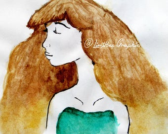Watercolor Painting of a Brown Haired Girl