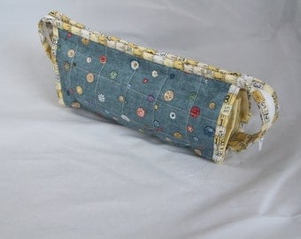 Handmade Cotton Case with 3 inside zip compartments