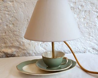 Small shabby chic vintage faience teacup lamp