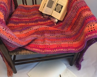 100% wool crochet blanket with handmade tassels, versatile, unique, weighty, warm, variegated colours, bedding, housewarming, wedding gift