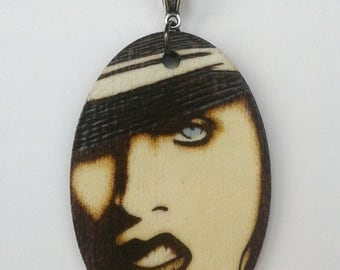 Marilyn Manson Holy Wood Woodburned Portrait Oval Necklace