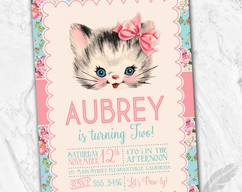 Vintage Kitten Birthday Party Invitations , kitty, cat, floral, shabby chic, printable