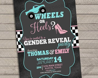 Wheels or Heels Gender Reveal Invitations, baby shower, digital file, you print, race car, monster truck, tires