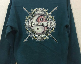 Vintage T & C surf crewneck jumper sweatshirt M size green colour