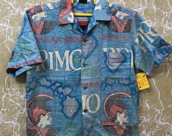 Vintage 50s Nos unused Sanforized Hawaiian Holiday Primo Aloha Tropical Hawaiian Primo shirt S size